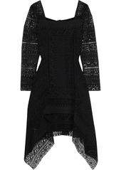 Alberta Ferretti Woman Fluted Guipure Lace Mini Dress Black