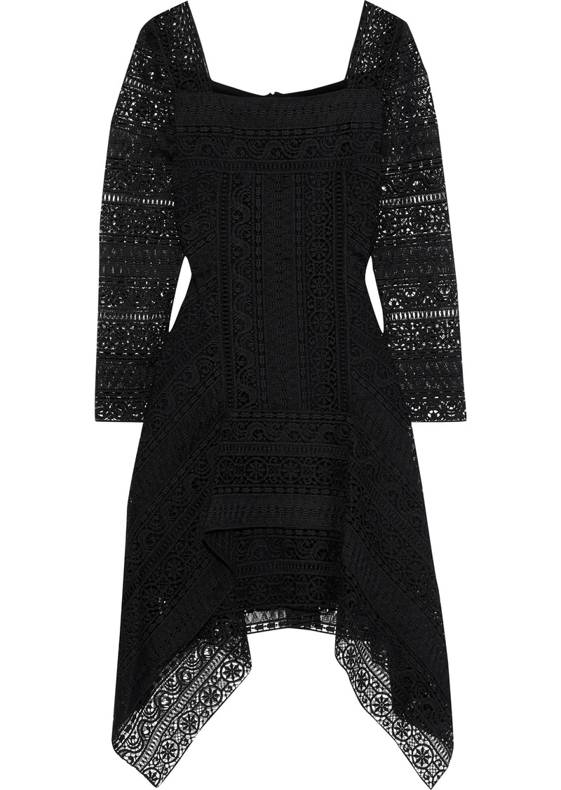 Alberta Ferretti Woman Fluted Guipure Lace Mini Dress Black