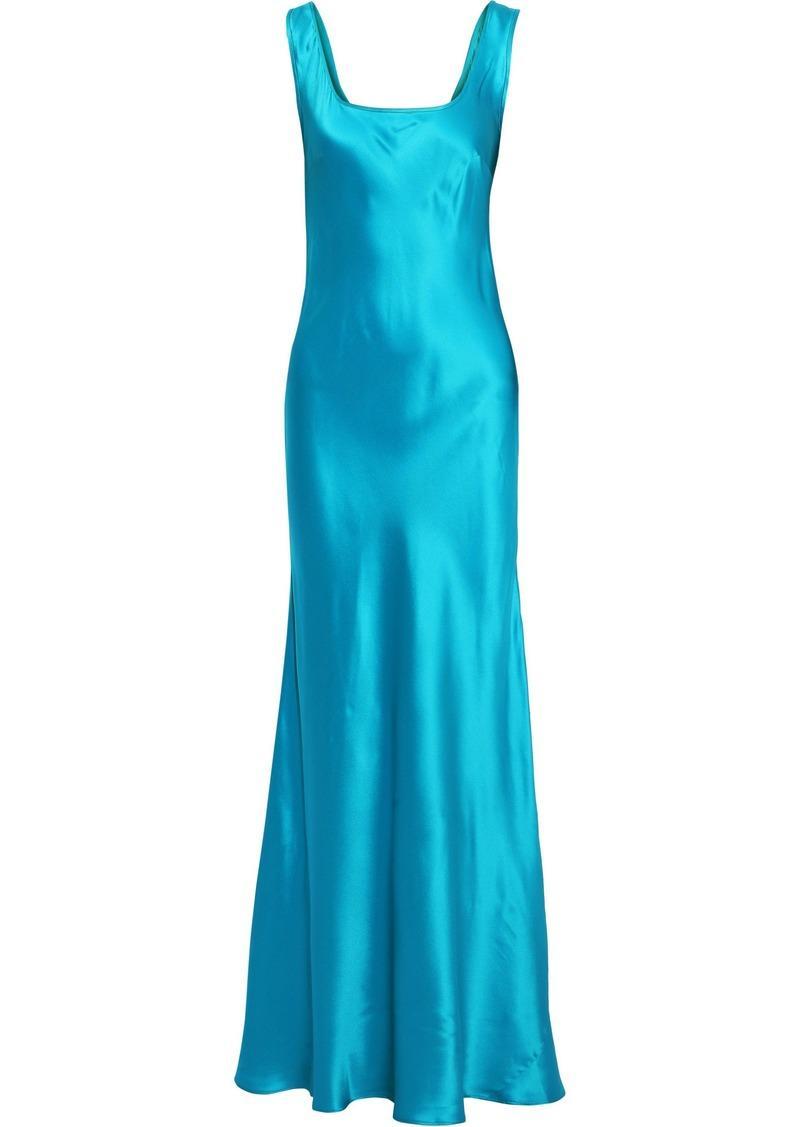 Alberta Ferretti Woman Fluted Silk-satin Gown Turquoise