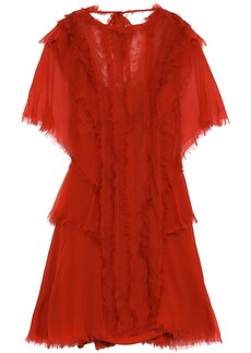 Alberta Ferretti Woman Frayed Layered Silk-chiffon Mini Dress Tomato Red