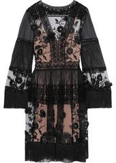 Alberta Ferretti Woman Fringe-trimmed Embroidered Tulle Cotton-mesh And Chiffon Dress Black