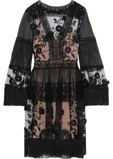 Alberta Ferretti Woman Fringe-trimmed Embroidered Tulle Cotton-mesh And Chiffon Dress Black