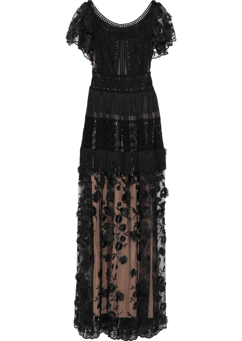 Alberta Ferretti Woman Fringe-trimmed Guipure Lace-paneled Embroidered Tulle Gown Black