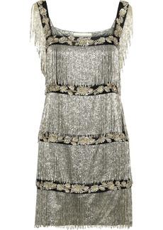 Alberta Ferretti Woman Fringed Embellished Metallic Silk-blend Mini Dress Platinum