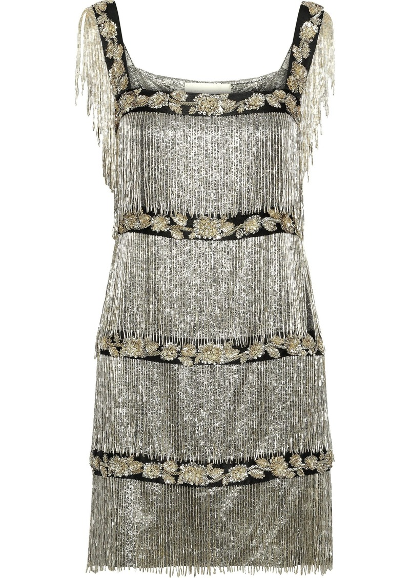 Alberta Ferretti Woman Fringed Embellished Metallic Silk-blend Mini Dress Platinum