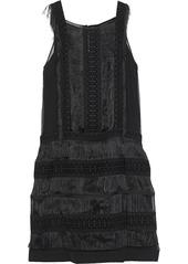 Alberta Ferretti Woman Fringed Guipure Lace-paneled Silk-georgette Mini Dress Black