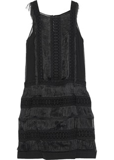 Alberta Ferretti Woman Fringed Guipure Lace-paneled Silk-georgette Mini Dress Black