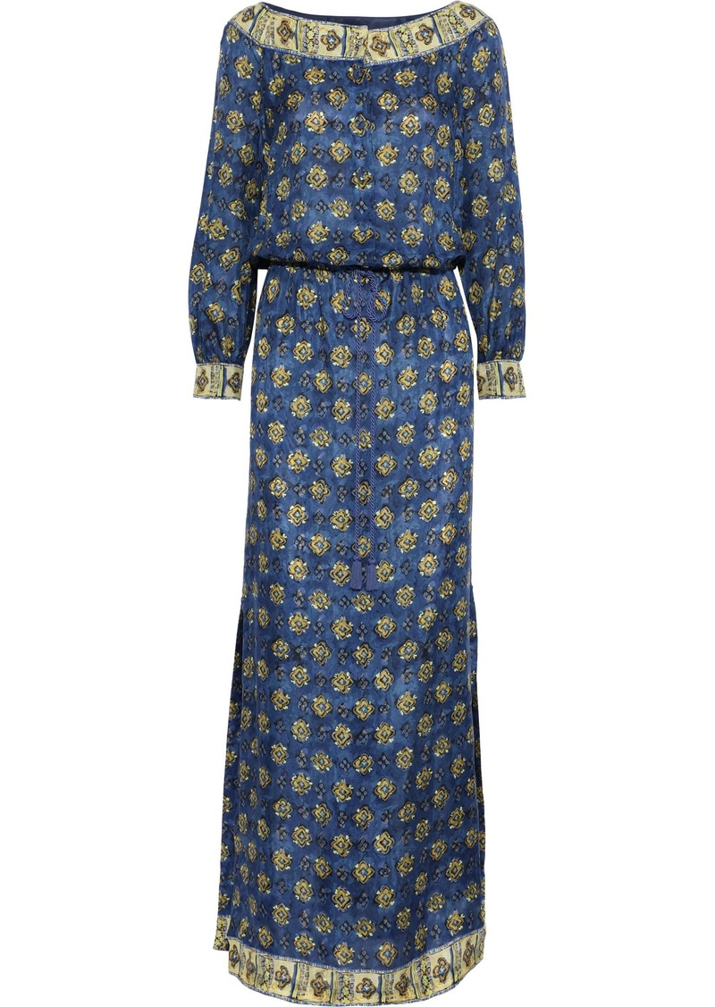 Alberta Ferretti Woman Gathered Printed Silk Maxi Dress Cobalt Blue