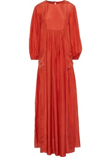 Alberta Ferretti Woman Gathered Silk-satin Maxi Dress Papaya
