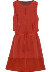 Alberta Ferretti Woman Georgette-paneled Cutout Linen-blend Mini Dress Brick