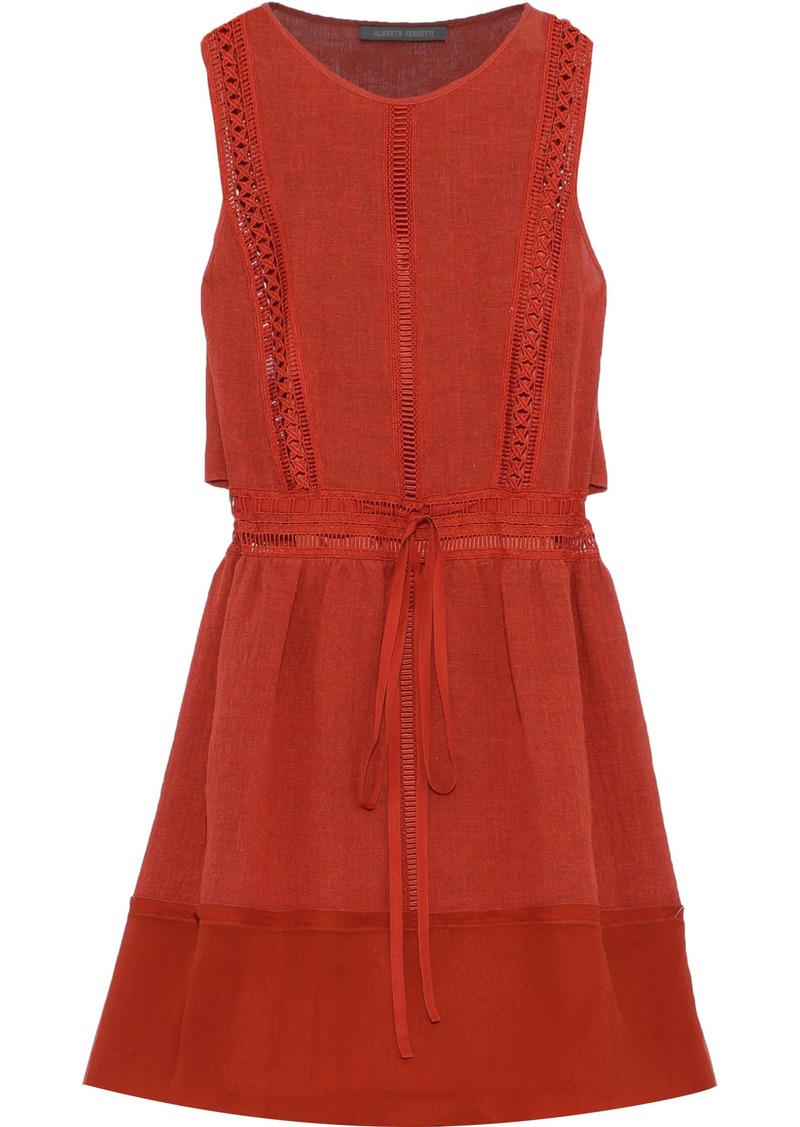 Alberta Ferretti Woman Georgette-paneled Cutout Linen-blend Mini Dress Brick