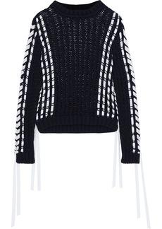 Alberta Ferretti Woman Grosgrain-trimmed Open-knit Cotton Sweater Navy