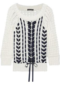 Alberta Ferretti Woman Grosgrain-trimmed Open-knit Cotton Sweater White