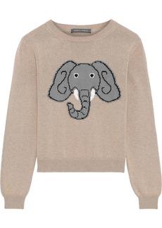 Alberta Ferretti Woman Intarsia Cotton Cashmere And Silk-blend Sweater Sand
