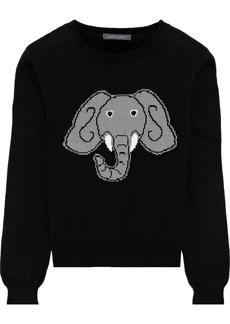 Alberta Ferretti Woman Intarsia Cotton Cashmere And Silk-blend Sweater Black
