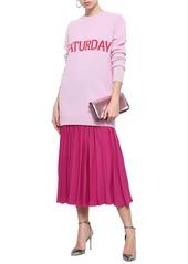 Alberta Ferretti Woman Intarsia Wool And Cashmere-blend Mini Dress Baby Pink