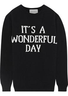 Alberta Ferretti Woman Intarsia Wool And Cashmere-blend Sweater Black