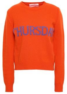 Alberta Ferretti Woman Intarsia Wool And Cashmere-blend Sweater Bright Orange
