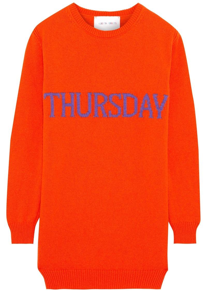 Alberta Ferretti Woman Intarsia Wool And Cashmere-blend Mini Dress Bright Orange