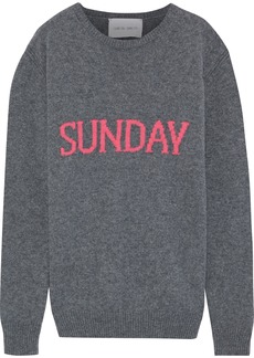 Alberta Ferretti Woman Intarsia Wool And Cashmere-blend Sweater Gray