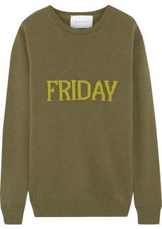 Alberta Ferretti Woman Intarsia Wool And Cashmere-blend Sweater Army Green