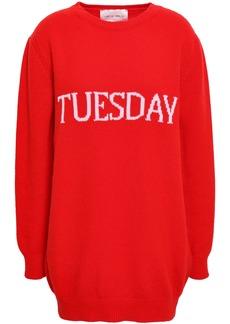 Alberta Ferretti Woman Intarsia Wool And Cashmere-blend Sweater Tomato Red