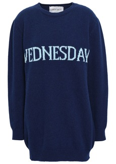 Alberta Ferretti Woman Intarsia Wool And Cashmere-blend Sweater Navy
