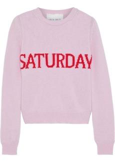 Alberta Ferretti Woman Intarsia Wool And Cashmere-blend Sweater Baby Pink