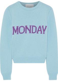 Alberta Ferretti Woman Intarsia Wool And Cashmere-blend Sweater Sky Blue