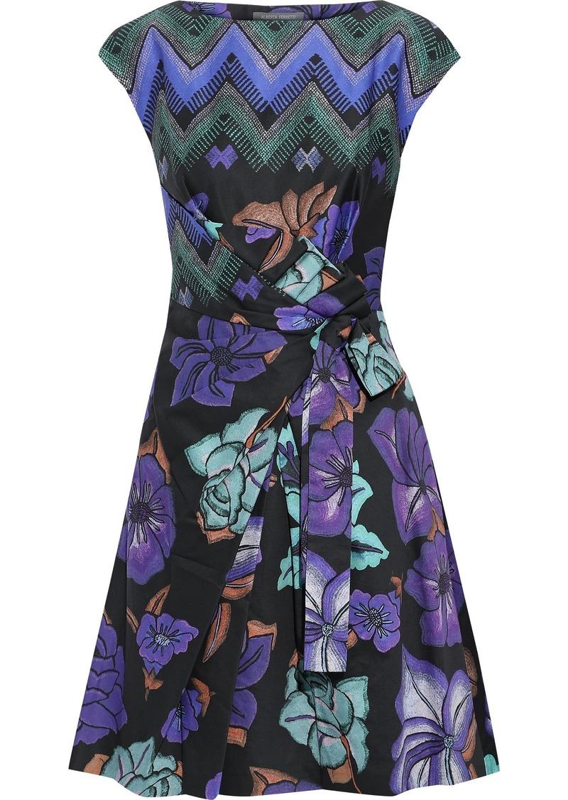 Alberta Ferretti Woman Knotted Printed Cotton-poplin Mini Dress Black
