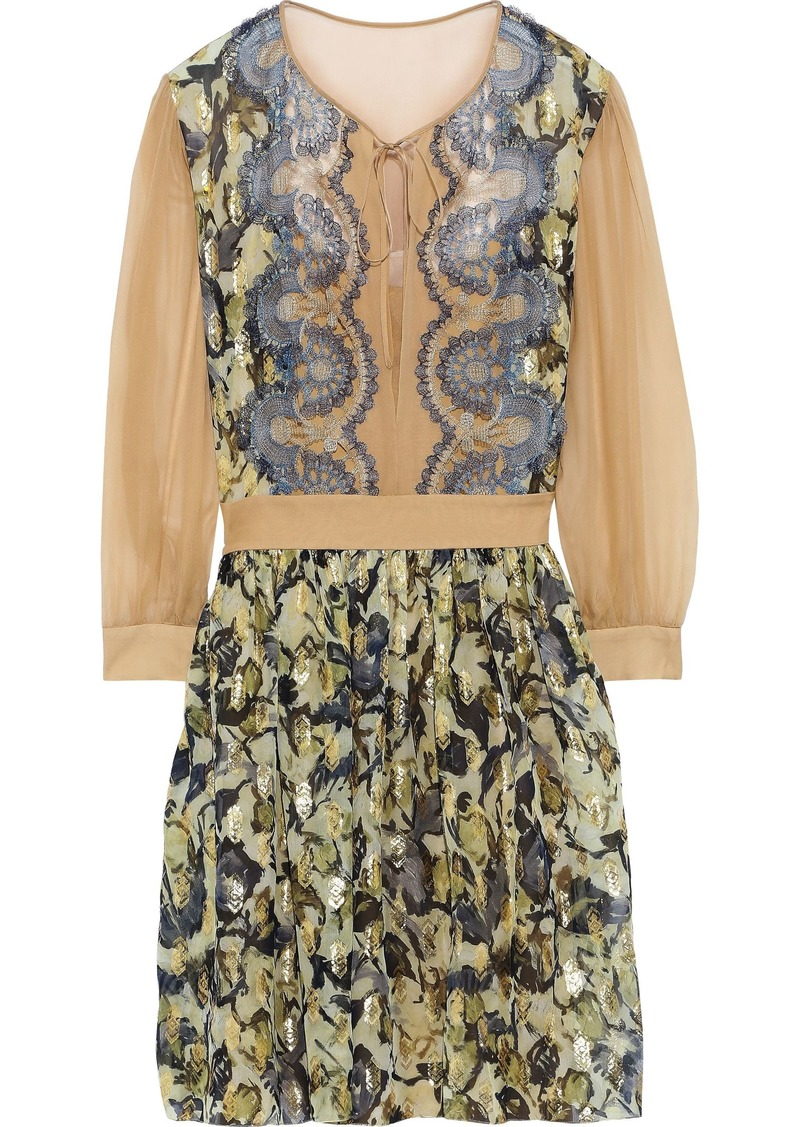 Alberta Ferretti Woman Lace And Chiffon-paneled Metallic Printed Fil Coupé Mini Dress Multicolor