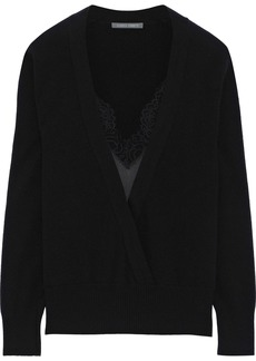 Alberta Ferretti Woman Lace And Satin-trimmed Wool And Cashmere-blend Sweater Black