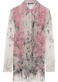 Alberta Ferretti Woman Lace-appliquéd Pleated Printed Silk-chiffon Shirt Light Gray