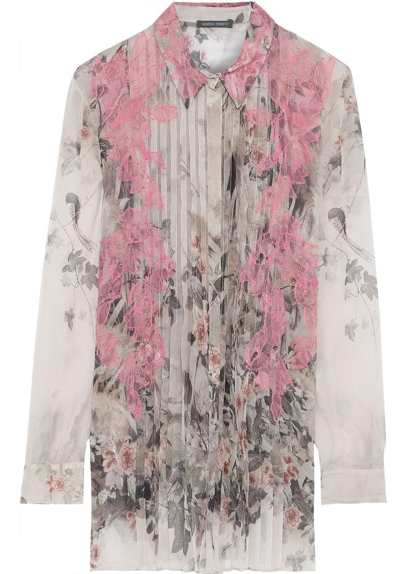 Alberta Ferretti Woman Lace-appliquéd Pleated Printed Silk-chiffon Shirt Light Gray