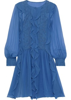 Alberta Ferretti Woman Lace-appliquéd Ruffled Chiffon Mini Dress Azure