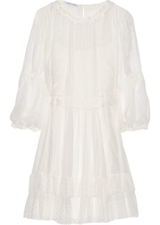 Alberta Ferretti Woman Lace-appliquéd Silk-chiffon Mini Dress White