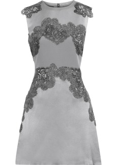 Alberta Ferretti Woman Lace-appliquéd Silk-satin Mini Dress Gray