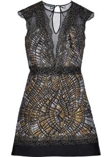 Alberta Ferretti Woman Lace-appliquéd Tulle-paneled Metallic Cloqué Mini Dress Black