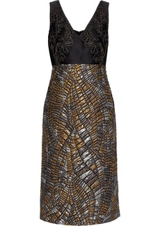 Alberta Ferretti Woman Lace-appliquéd Twill And Metallic Matelassé Dress Black