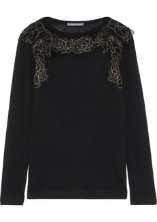 Alberta Ferretti Woman Lace-appliquéd Wool Silk And Cashmere-blend Top Black