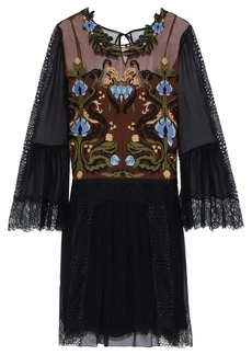Alberta Ferretti Woman Lace-paneled Embroidered Silk-chiffon Dress Brown