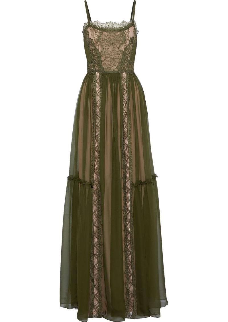 Alberta Ferretti Woman Lace-paneled Gathered Silk-chiffon Gown Leaf Green