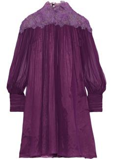 Alberta Ferretti Woman Lace-paneled Gathered Silk-chiffon Mini Dress Purple