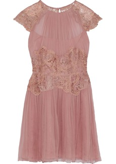 Alberta Ferretti Woman Lace-paneled Pleated Silk-chiffon Mini Dress Antique Rose