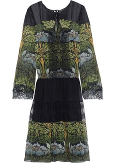 Alberta Ferretti Woman Lace-paneled Printed Silk-chiffon Dress Leaf Green