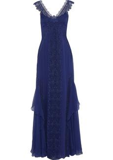 Alberta Ferretti Woman Lace-paneled Silk-chiffon Gown Royal Blue