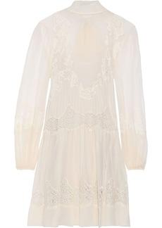 Alberta Ferretti Woman Lace-paneled Silk-chiffon Mini Dress Beige