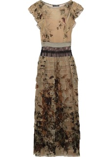 Alberta Ferretti Woman Lace-paneled Tiered Printed Chiffon Maxi Dress Sage Green