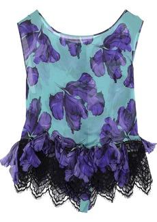Alberta Ferretti Woman Lace-trimmed Appliquéd Printed Silk-chiffon Top Violet