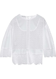 Alberta Ferretti Woman Lace-trimmed Broderie Anglaise And Cotton-gauze Blouse White